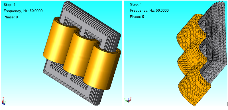 Three phase transformers and 3D mesh in JMAG